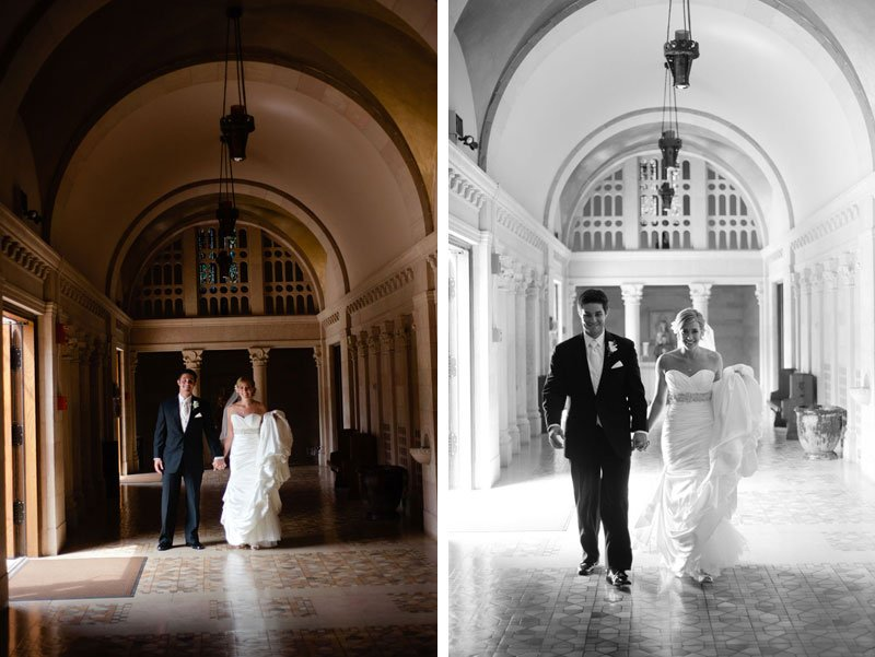 bride and groom walk through spanish architecture of St Thomas More Catholic Church in St Paul, MN