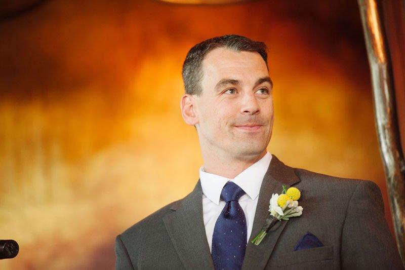 groom waits for bride at loring pasta bar minneapolis