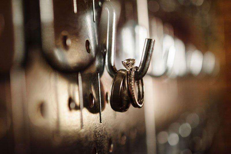 wedding rings on industrial hook five event center minneapolis wedding