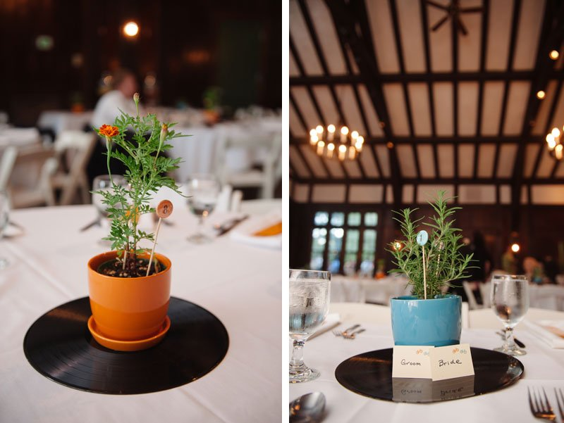 homegrown herbs and LPs as centerpieces at Theadore Wirth Park Chalet Minneapolis