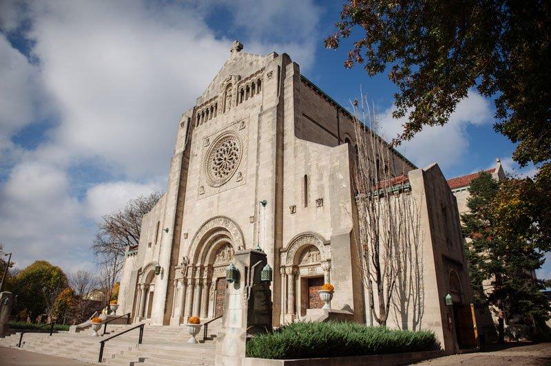 St Thomas Catholic Church exterior for wedding st paul mn