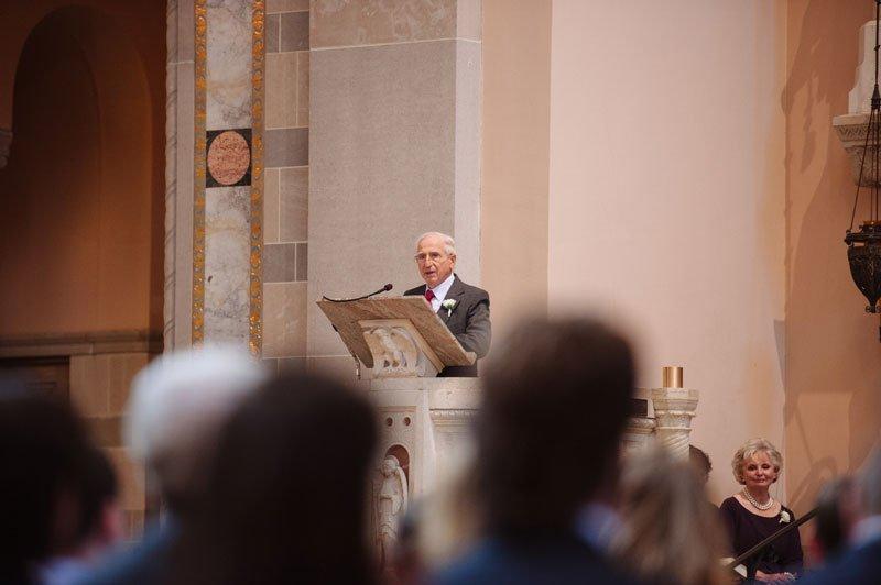 grandfather talks at st thomas church wedding st paul mn