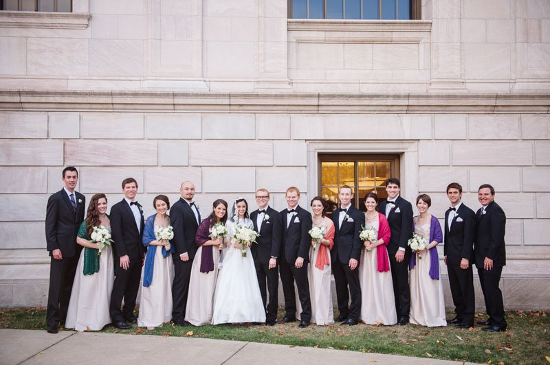 st paul mn wedding at jj hill library large wedding party