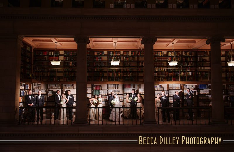 JJ Hill Library Wedding dramatic lighting with large wedding party