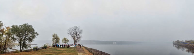 rainy day wedding on stillwater mn peninsula panorama of st croix river