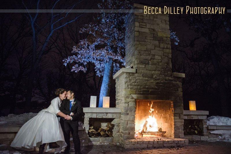 mn winter wedding at night silverwood park center wedding
