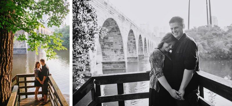 couple under the stone arch bridge in Minneapolis