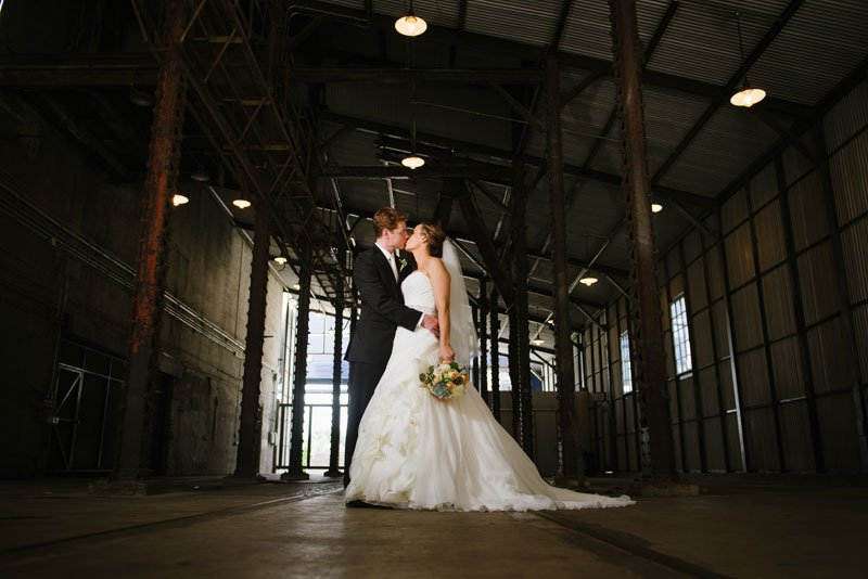 dramatic portrait of bride and groom