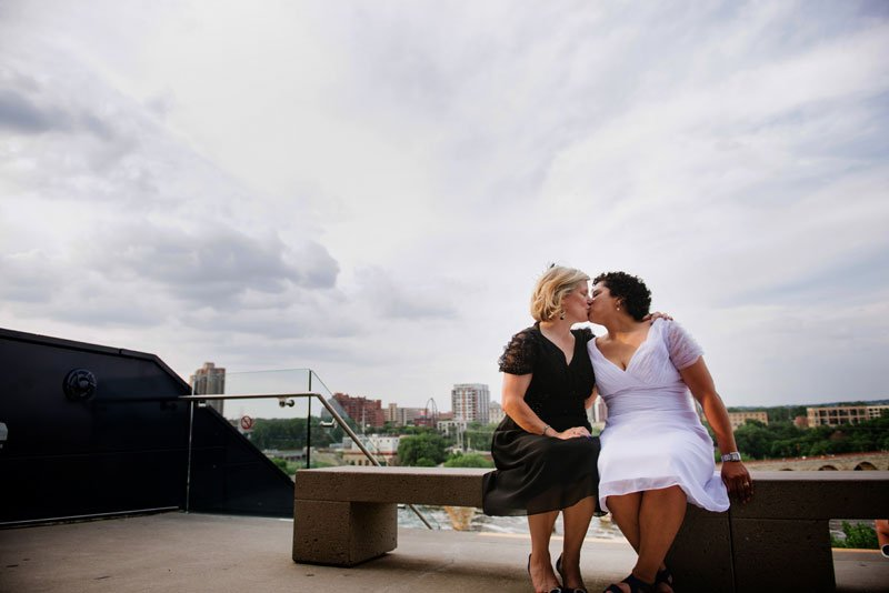 guthrie theater wedding two brides on endless bridge