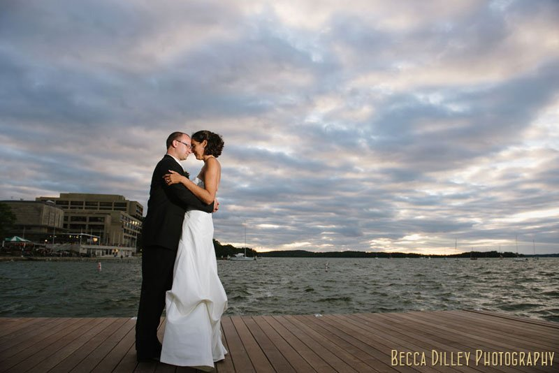 bride and groom on memorial union terrace new pier at night