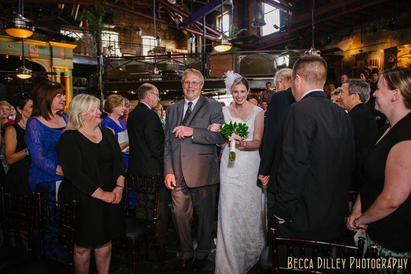 bride and father walk down aisle loring pasta bar minneapolis wedding
