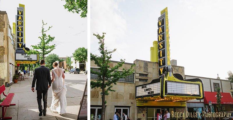 bride and groom walk to varsity theater minneapolis wedding
