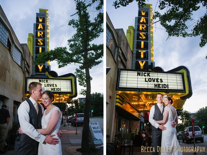 Couple under the marquee at night at varsity theater minneapolis wedding