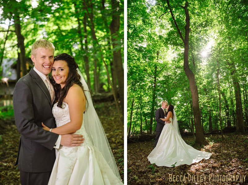bride and groom under the trees at woods chapel wedding orono mn