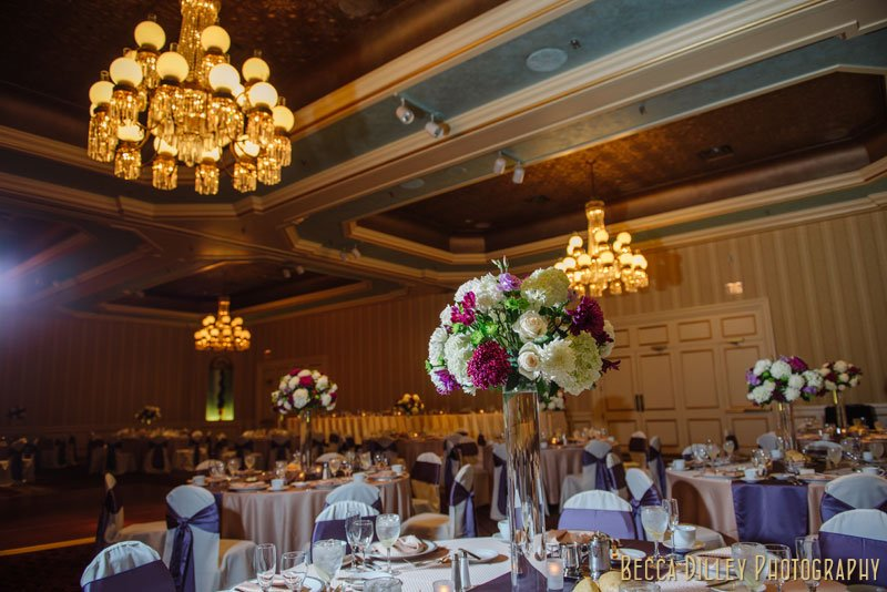 details of tables at st paul hotel wedding reception mn