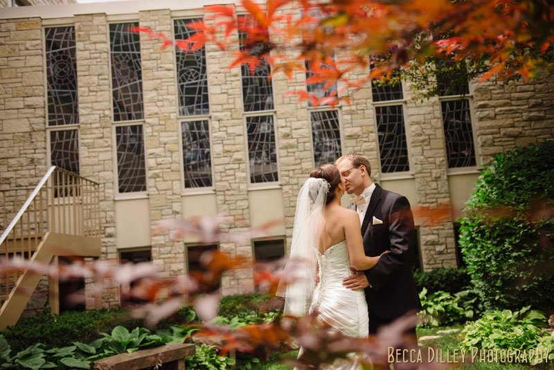 bride and groom see each other for first time at Bethlehem Lutheran Church wedding minneapolis mn