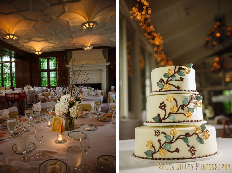 wedding cake with vines and tablescape at st paul university club wedding