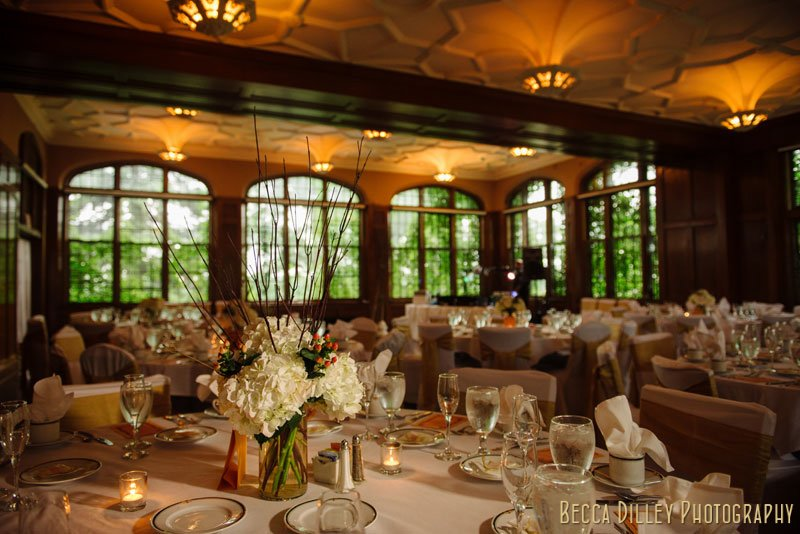 interior of st paul university club for wedding reception