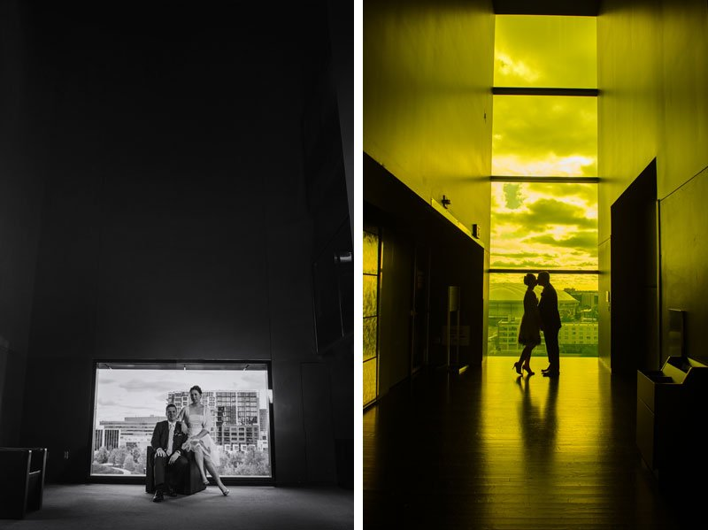 bride and groom in amber box of guthrie theater