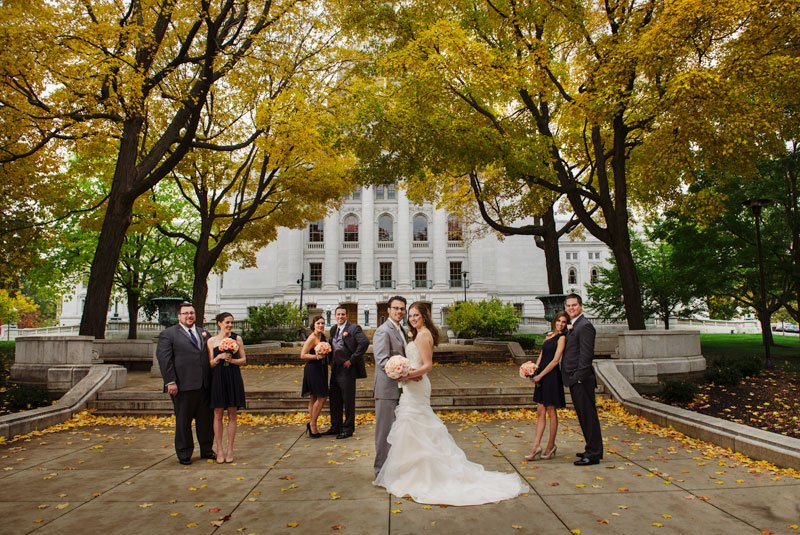 flash composite of wedding party outside madison capitol building