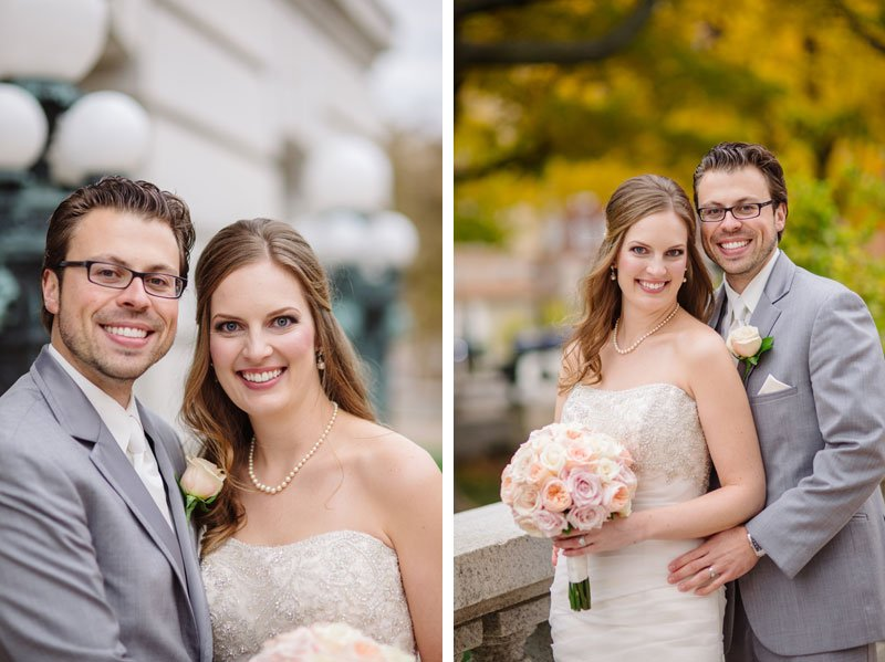 bride and groom in pink and grey at fall wedding