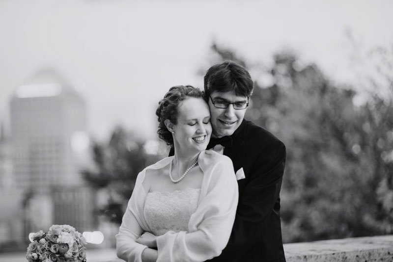 bride and groom on roof of mn history center