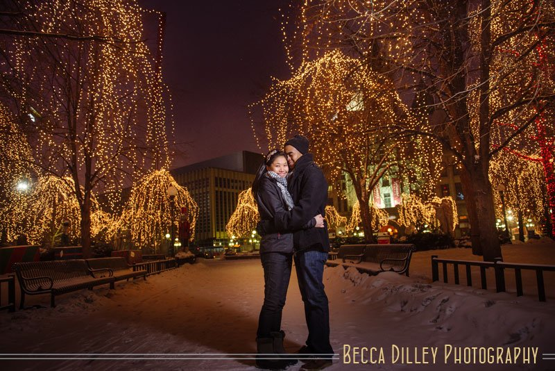 rice park engagement photos with christmas lights