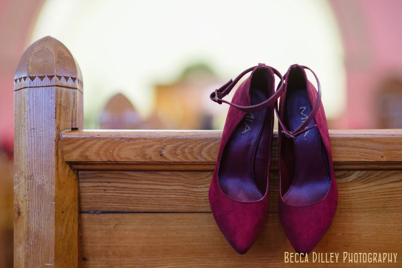 maroon shoes for St Paul winter wedding at Virginia Street Church