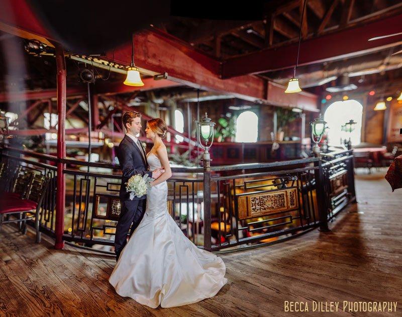 panorama of bride and groom at wedding at loring pasta bar dinkytown