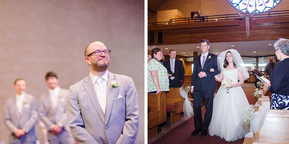 groom sees bride for first time walking down aisle St Maria Goretti church wedding madison wi