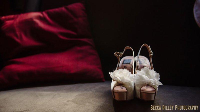 bride's ruffled shoes at Loring Pasta Bar Minneapolis wedding