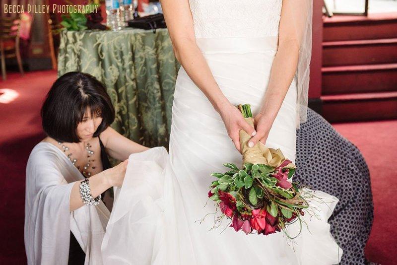 bride with flowers atLoring Pasta Bar Minneapolis wedding
