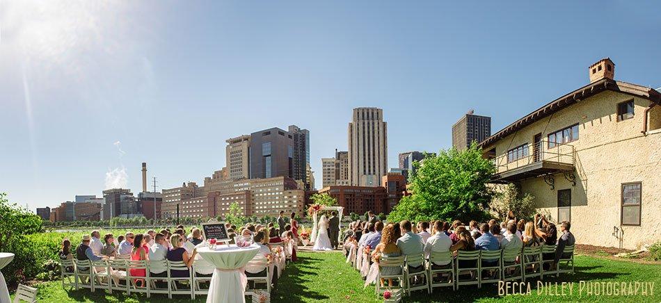 panorama of wedding at minnesota boat club on raspberry island st paul mn