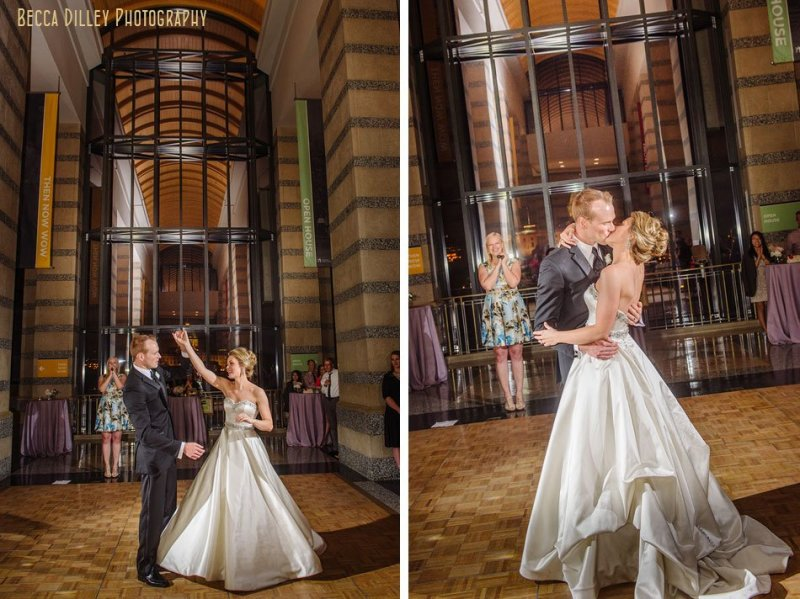 bride and groom share first dance at minnsota history center