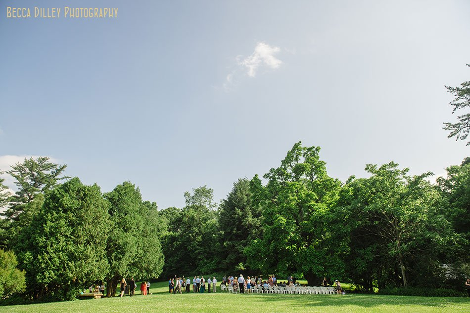 spring green wedding at hilltop ceremony