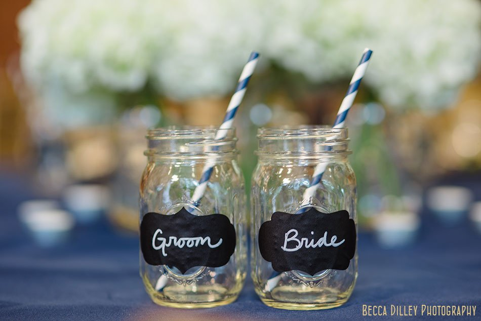 bride and groom mason jars table place setting details at silverwood park wedding