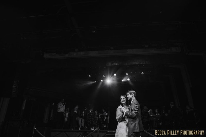 bride and groom first dance varsity theater wedding reception