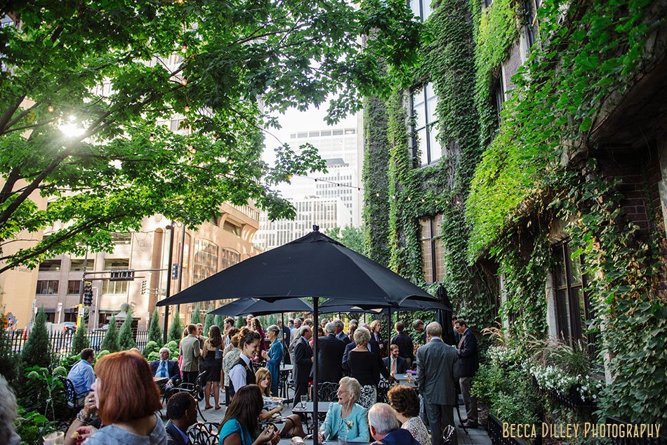 cocktail hour on terrace minneapolis club wedding