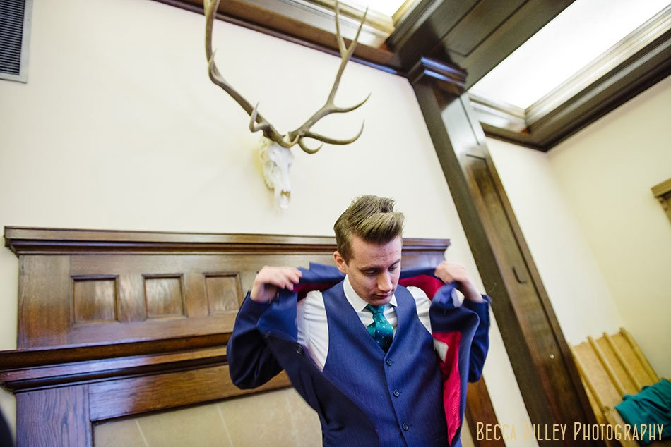 groom in moods of norway jacket Minneapolis club wedding