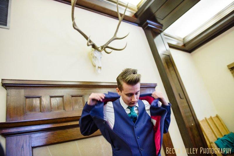 groom in moods of norway jacket Minneapolis club wedding