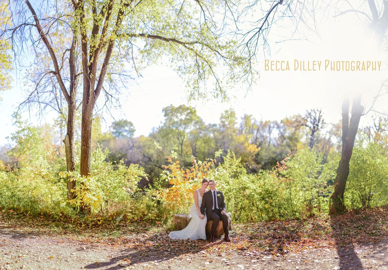 best minneapolis wedding photographer panorama of bride and groom in fall