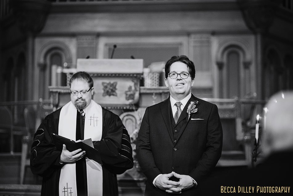groom waits for bride at st paul wedding