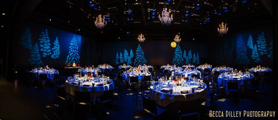 guthrie theater wedding reception in black box theater with dramatic lighting panorama wedding photography questions