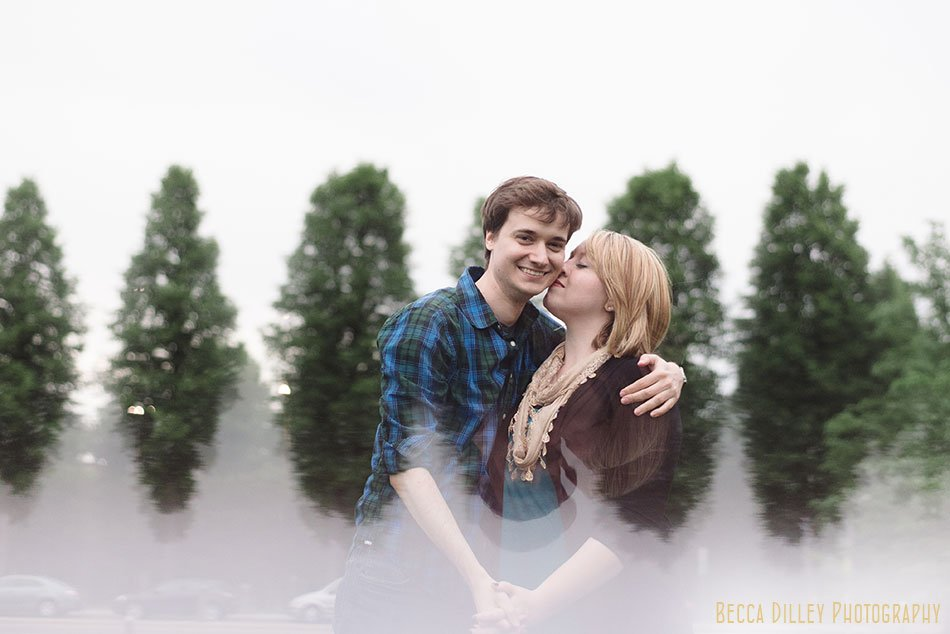 using a prism at engagement session to duplicate background of trees