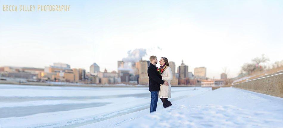st paul city hall elopement skyline in winter