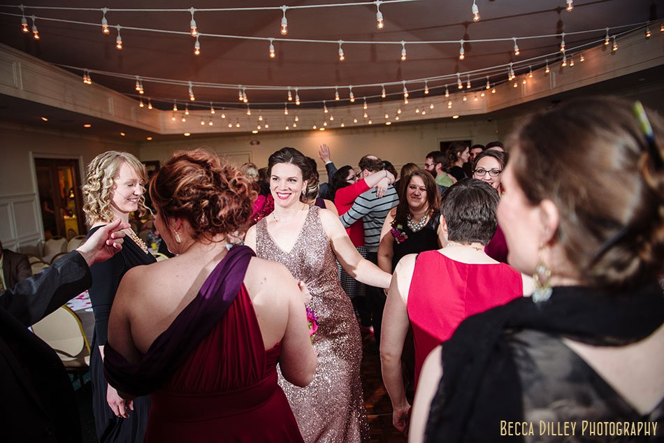 dancing with cafe lights st paul college club winter wedding mn