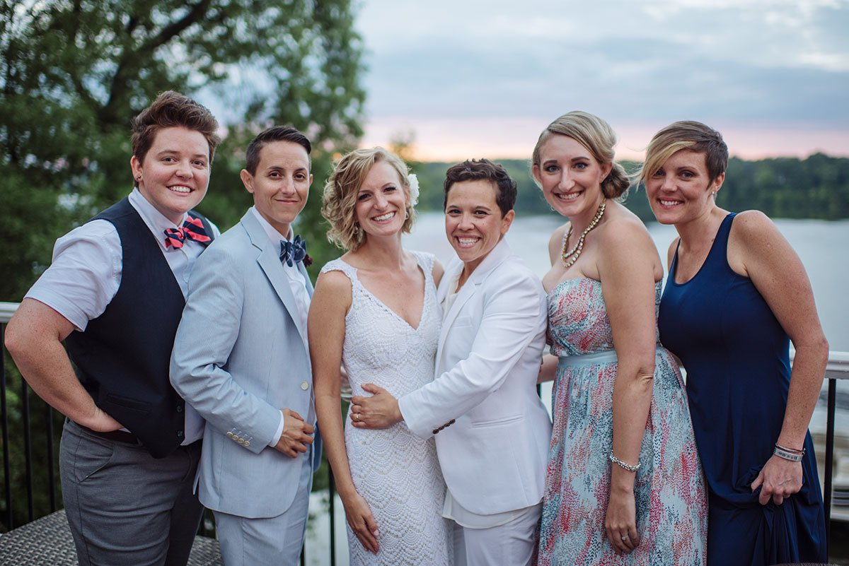 Casual wedding group portrait Minneapolis same sex wedding
