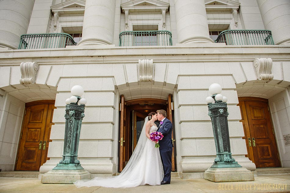 bride and groom at capitol building madison wisconsin wedding