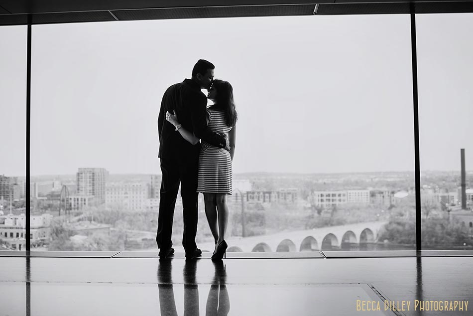 silhouettes at guthrie theater minneapolis wedding photographer engagement photos at stone arch bridge in winter