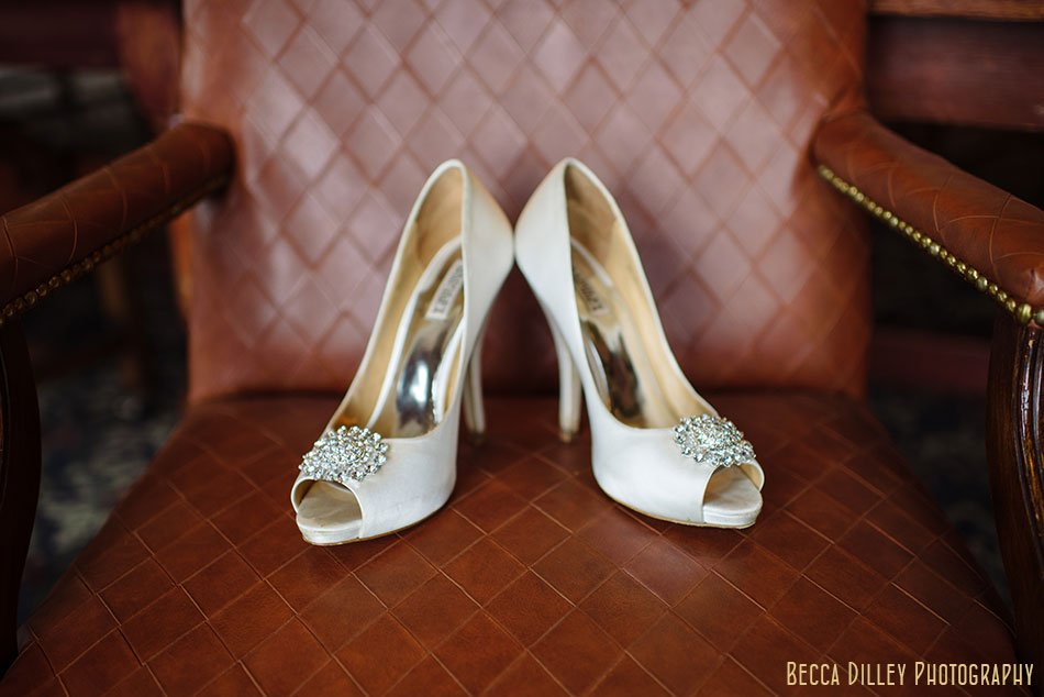 gorgeous shoes on leather chair of wayzata country club